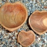 Carved Wooden Heart Nesting Bowls