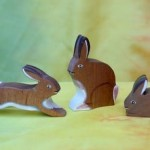 Three Wood Rabbits